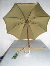 *VINTAGE LADIES UMBRELLA w/ MOTHER OF PEARL HANDLE ft CANOPY SLEEVE & TASSEL*