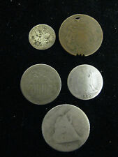 5 COIN LOT 1858 SL FLYING EAGLE 1865 3 CENT 1854 W/ ARROWS SEATED DIME 1878 QUAR