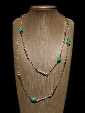 Gorgeous Gold Tone Metal Green Murano Glass Bead Chain Link Necklace