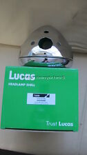 "new genuine LUCAS 7"" CHROME HEADLIGHT SHELL+ RIM ammeter hole+warning lights"