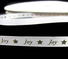 "5 Yds Christmas Joy Stars White Satin Ribbon 3/8""W"