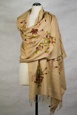 Pashmina Schal, 100% Wolle wool scarf stole écharpe bestickt embroidered Beige