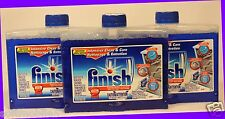 3 Bottles Finish Dishwasher Cleaner INTENSIVE CLEAN + CARE Cleans Filters, etc.