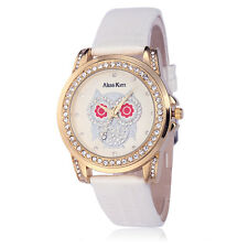 Alias Kim Lady White Leather Bracelet Steel Case Owl Crystal Dial Women's Watch