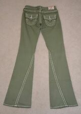 TRUE RELIGION JOEY BIG T WHITE STITCH GREEN COTTON BOOT CUT JEANS SWEATPANTS 25