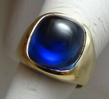 ANTIQUE VINTAGE MENS SAPPHIRE RING 10K SOLD YELLOW GOLD