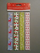 100 x self Adhesive Christmas Paper Chains Strips Party Decorations printed