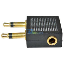 3.5mm Female Plug to 2x Double 3.5mm Airplane Headphone Jack Adapter Connecter