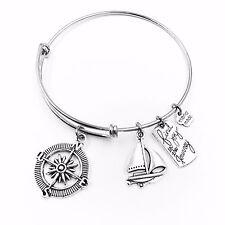 Compas Sailboat find joy Adjustable Wire Bangle Bracelet 2 Loop Silver