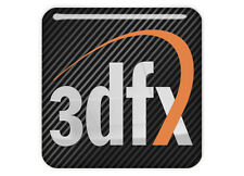 "3DFX 1""x1"" Chrome Domed Case Badge / Sticker Logo"