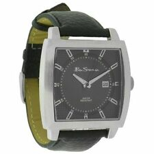 BRAND NEW MENS BEN SHERMAN WATCH GREY DIAL DATE WINDOW BLACK LEATHER STRAP R932