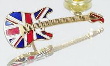 Vintage Gold Plated Mini Start Guitar Lapel Pin Music Jewelry British Flag NOS