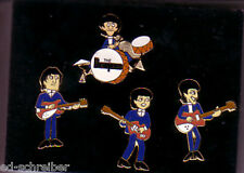 Beatles Set of 4 Cartoon Pins With Instruments with Plastic Display Case