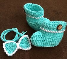 Handmade Crochet  Boys Booties and Bow tie  Set  (Newborn-) aqua   yarn