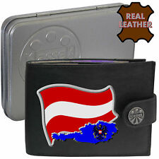 AUSTRIA  Mens Real Leather Wallet AUSTRIAN Flag map and Emblem Mans gift
