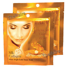 GOLD PEARL SILK COLLAGEN WHITE BRIGHT GOLD TISSUE MASK ANTIAGING YOUNGER SKIN x2