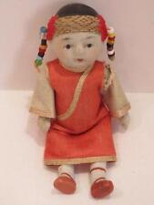 """Antique Bisque Oriental Baby Girl Doll Beads in Hair 4"""" Hand Painted Miniature"""