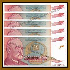 100 Pcs Bundle x Yugoslavia 500000000000 (500 Billion) Dinara, 1993 P-137 Cir
