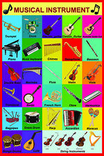 laminated MUSICAL MUSIC INSTRUMENTS educational poster | guitars  piano | song