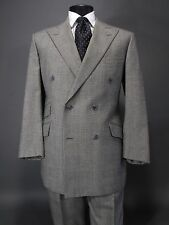 Fabulous FACONNABLE Wool Suit, Gray Prince of Wales Plaid, Hacking Pockets 42R