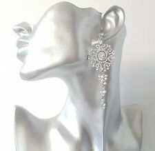 GORGEOUS Long silver tone & diamante - crystal chandelier drop earrings NEW #297