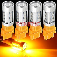 4x 3157 High Power 2835 Chip Amber Yellow Projector Turn Signal LED Light Bulbs