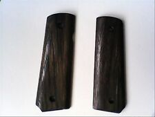 CUSTOM BLACK STAINED IROKO WOOD GRIPS TO FIT COLT SWISS ARMS P1911