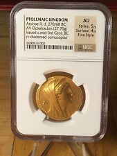 Ptolemaic Kingdom AV Gold Octodrachm 270-268BC NGC  AU 5/5 4/5 Fine Style!