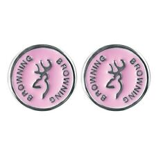 BROWNING BUCKMARK PINK ENAMEL CIRCLE STUD EARRINGS