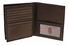 Paul & Taylor Men Large Brown Leather Hipster Center Flap Bifold Billfold Wallet