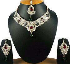 Indian Traditional Ethnic multi color Necklace Earrings maang tika Stone Set .