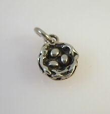 .925 Sterling Silver 3-D Small BIRDS NEST With 3 Eggs CHARM Pendant NEW 925 BI20