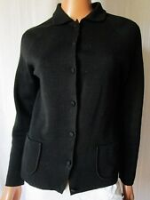 HENRIETTE CARDIGAN GIACCA SWEATER Jacket TG.42 in MERINOS extrafine 100% NERO