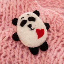 White Panda felt pin brooch needle felted Valentinnes Day