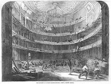 LONDON Reconstruction of Auditory of Covent Garden Theatre - Antique Print 1846