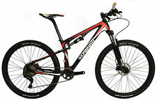 "17"" M TRAIL RED MTB STRADALLI CARBON FIBER BICYCLE DUAL SUSPENSION XT 27.5 650B"