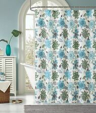Sardinia Green Blue Floral Flower Fabric Cloth Bathroom Shower Curtain