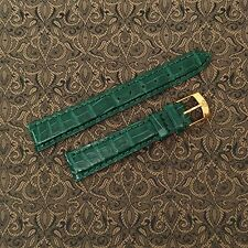REAL Genuine Alligator 17mm Watch Strap Band, Hand Made in Italy, EMERALD GREEN