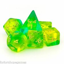 Aqua Gem Blitz poly dice set 7 polynomial for d20 RPG roleplay