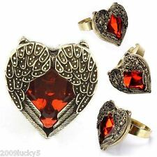 Art Deco Vintage Heart Angel Wings Ring Red Antique Valentines Love Gift