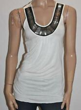 COTTON ON Designer Cream Black Silver Beaded Opal Tank Top Size S BNWT #sE98