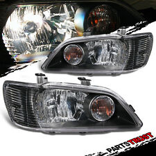 2002-2003 Mitsubishi Lancer ES/LS/OZ Black Headlights Head Lamps Pair