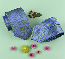 Green & Blue Paisley Floral 3 Inch Designer Skinny Tie Sexy Beautiful GQ Necktie