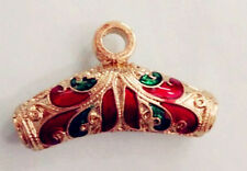 Thai Wind Enamel Loose Jewelry Making Pendant Beads Golden-Red-Green Color 3pcs