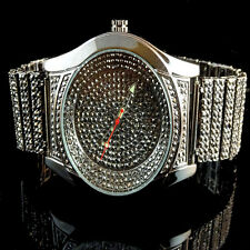Mens Full Iced Out Captain Bling Black Gold Finish Lab Diamond Wrist Metal Watch