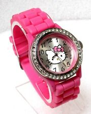 SANRIO HELLO KITTY SILVER DIAL SILVER-TONE SS PINK RUBBER STRAP WATCH HK2055