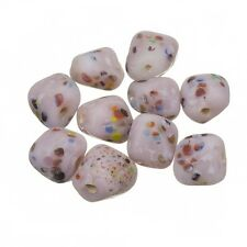 Multi Colored Speckled Twisted Lilac Square Glass Beads 10mm Pack of 10 (B84/7)
