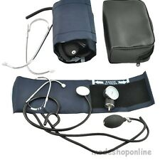 Blood Pressure BP Cuff Monitor and Sprague Rappaport Stethoscope Set Blue Home