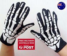 Unisex Party Costume Halloween Ghost Gothic Black Skull Skeleton Bone Gloves