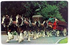 VINTAGE SWAP CARD. BUDWEISER CLYDESDALE HORSE TEAM & WAGON. HOYLE KENT